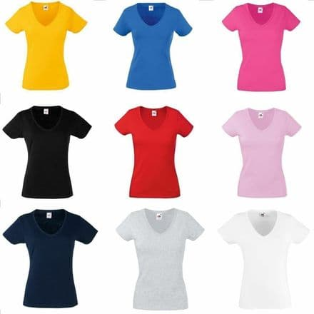 Tee Top T Shirts 3 or 5 pack FOTL Lady Fit valueweight V Neck Short Sleeves Shir